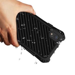 Image 3 - درع حقيبة لهاتف أي فون Xs Xs Max Xr X إطار معدني فاخر سيليكون الوفير الهجين للصدمات 360 حماية كاملة غطاء من ألياف الكربون