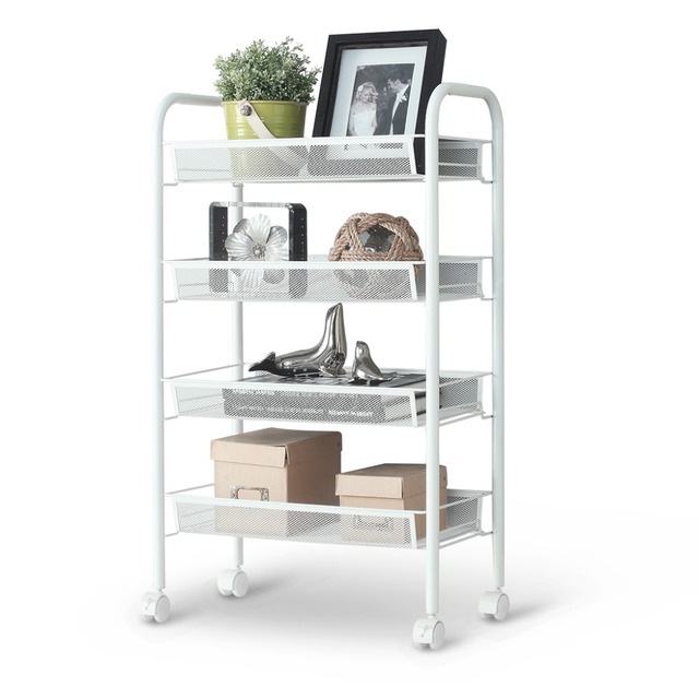 LANGRIA Silver/White 4 Tier Metal Mesh Rolling Cart Trolley For Kitchen  Pantry Office