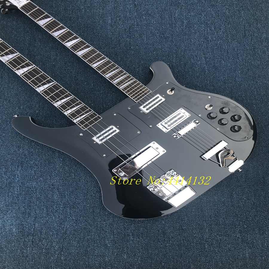 Vente chaude Top Qualité Nouvelle Arrivée RICK Double Cou 4 Cordes Basse + 6 Cordes Noir Guitare Électrique livraison gratuite