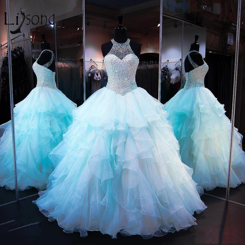 Luxury Pearls Puffy   Prom   Gowns 2018 Pretty Lush Ruffles Tiered Ball Gowns Shiny Crystal Long   Prom     Dresses   Halter Abendkleider