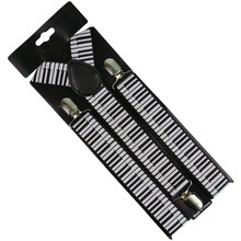 Winfox Black White 3.5cm Wide Women Men Suspenders Musical Notes Keyboard Braces Female
