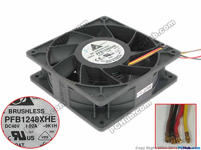 Delta Electronics PFB1248XHE 9K1H Server Square Cooling Fan DC 48V 1.92A 120x120x38mm 4-wire free shipping for delta efb0612ha f00 dc 12v 0 18a 3 wire 3 pin 120mm 60x60x10mm server square cooling fan