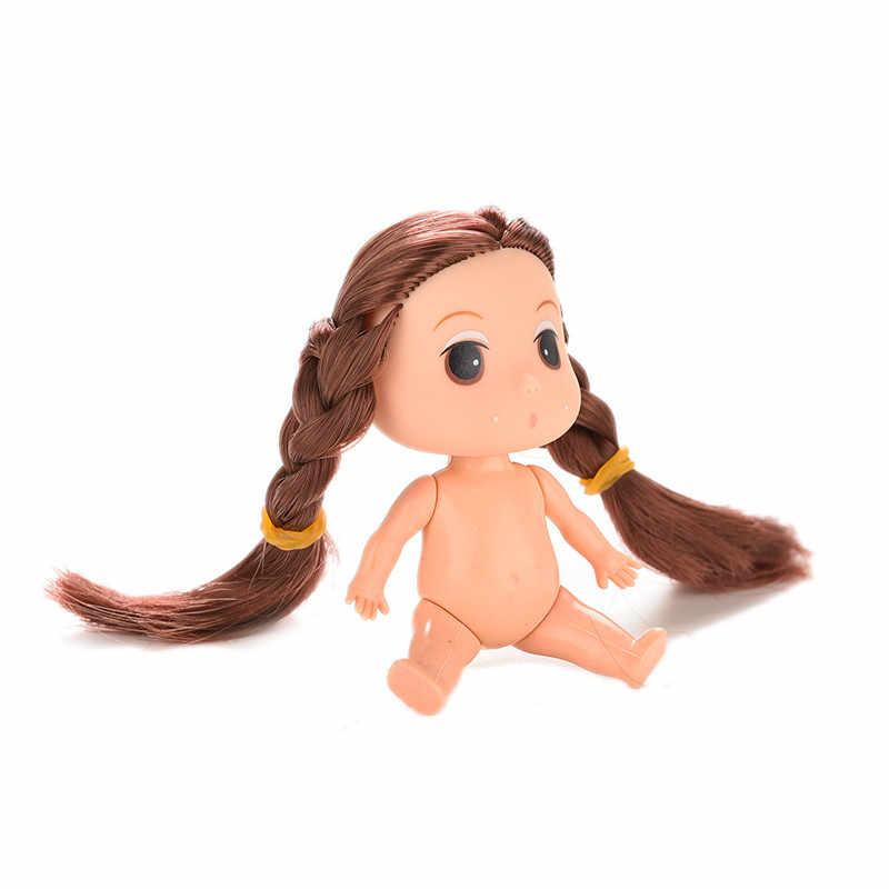 9 cm vestido-up Mini Ddung Dolls com Brown/ouro Bun Cabelo Baking Mold Bonecas Menina Brinquedos Bolha banho Cozer Nua menina bonecas molde de Cozimento