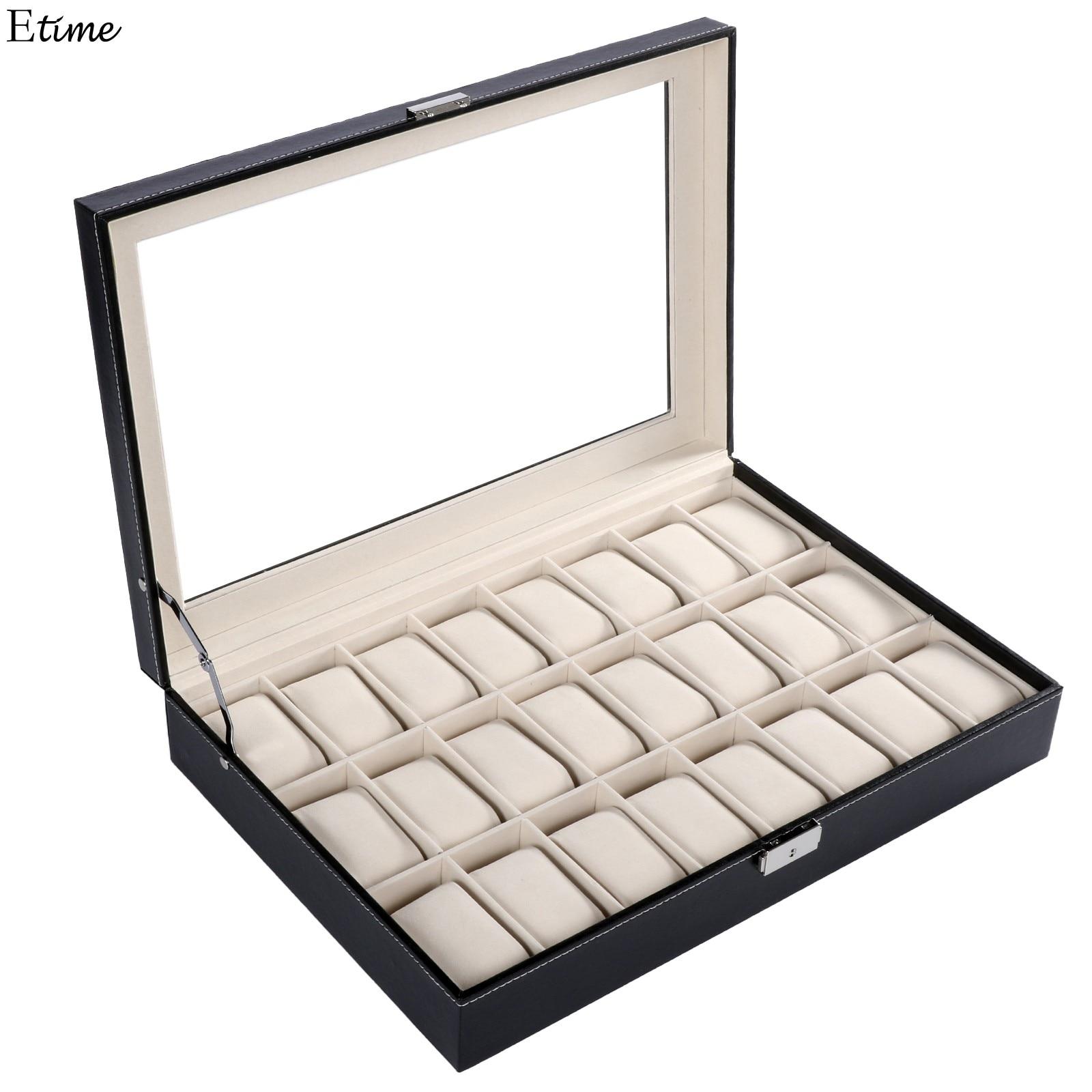 FANALA 24 Grid Watch Box Caja de exhibición de reloj de cuero de PU de alta calidad Organizador de almacenamiento de joyas para relojes de pulsera Boite Montre 2018