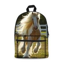 Холщовые рюкзаки с принтом лошадей для девочек подростков 2017