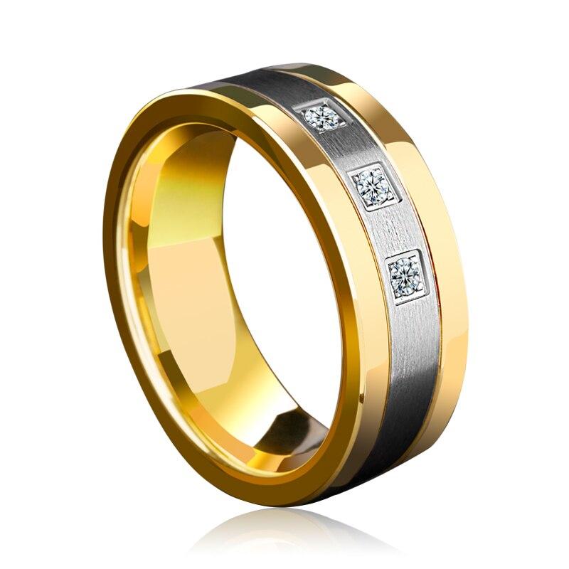 Nouveauté 8mm anneaux de tungstène pour hommes plaqué or bandes de mariage deux tons 3 CZ pierre promesse mariage taille 7-12 pour la mariée - 4