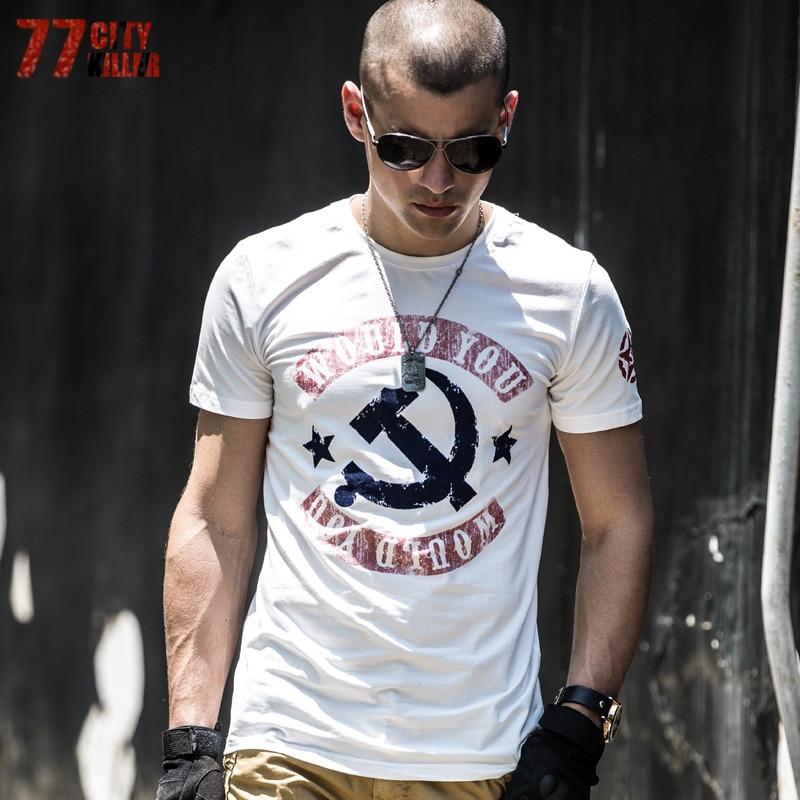 77 City Killer 2018 D'été Lettre Imprimer T-shirt Hommes Coton à manches courtes Militaire Armée Stretch T Chemises Tactique T-shirts T-shirts toP