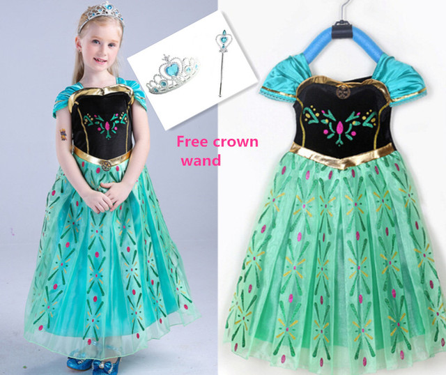 movie froze girl snow princess anna costume children anna dress halloween party fancy dress with crown