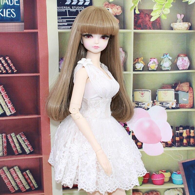 Bon prix personnalisation BJD poupée 1/4 résine Figure poupée jouets pour filles 45 cm corps Joint poupée en jupe blanche et avec de longs cheveux