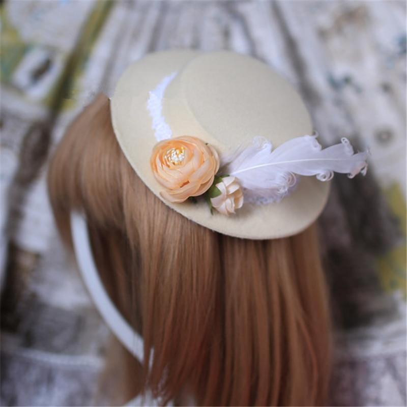 Elegant Women Feather Flower Gothic Lolita Mini Boater Hat Hair Accessories