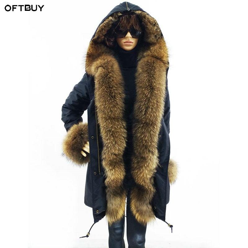 OFTBUY 2019 Real Fur Coat Long Parka Winter Jacket Women Natural Raccoon Fur Collar Real Rabbit Fur Liner Streetwear Brand New