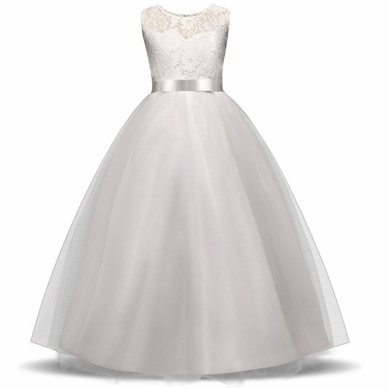 High-end-Mädchen Hochzeit Partei Blume Mädchen Kleid Brautjungfer Kleidung Prinzessin Kleider Teen Mädchen Weiß Tüll Abendkleider 5 14 Y