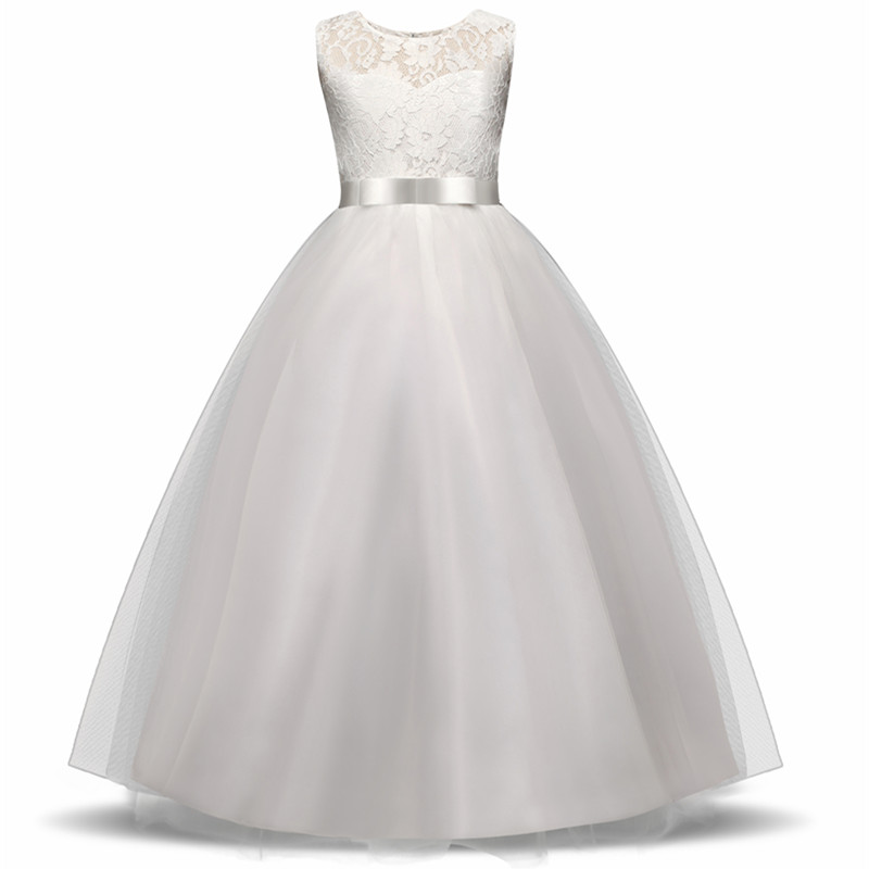 High-end Girls Wedding Party Flower Girl Dress Bridesmaid Clothes Princess Gowns Teen Girl White Tulle Evening Dresses 5 14 Y
