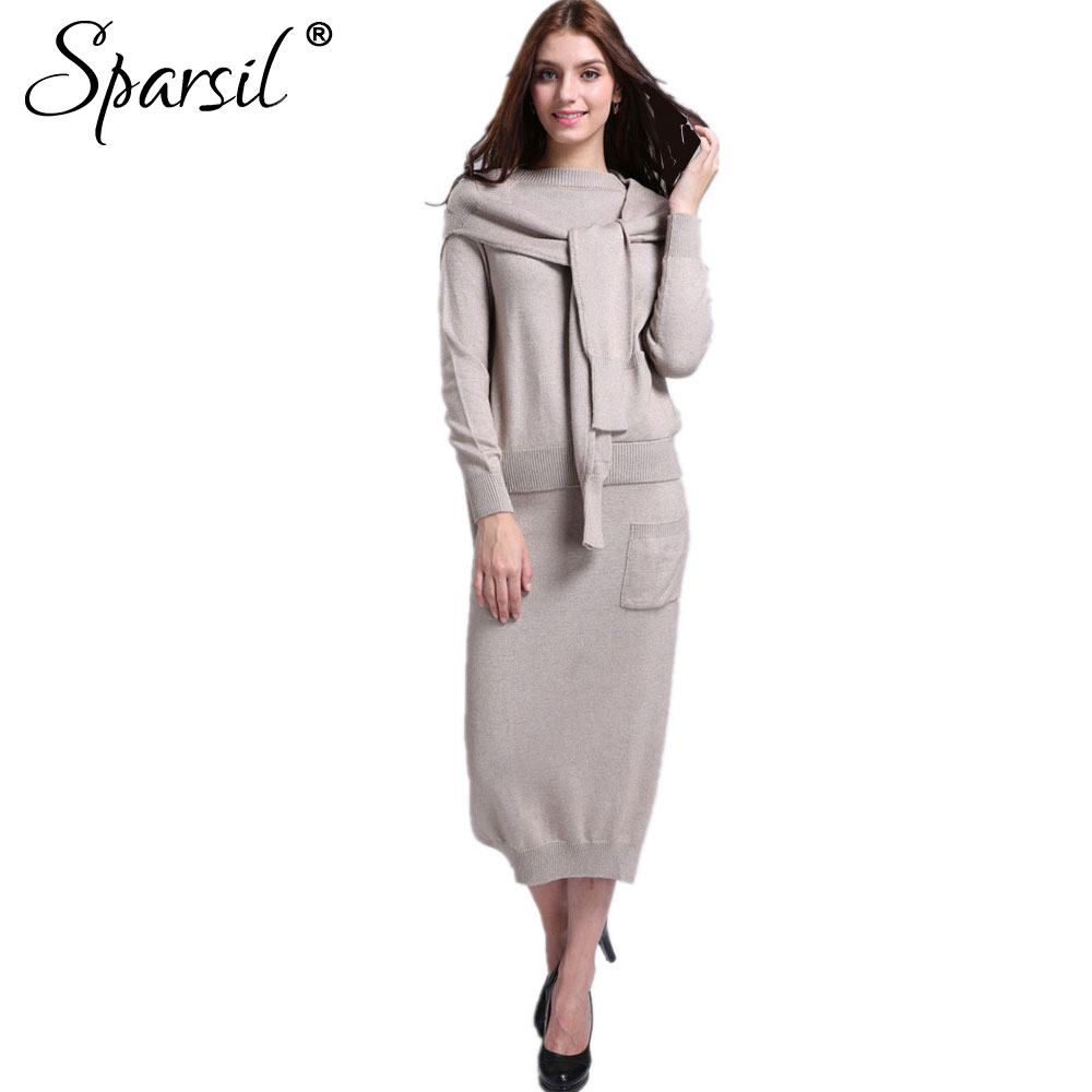 Sparsil Women's Autumn Cashmere Blend Knitted Sweater+Hem Slit Skirt+Shawl/Set Female 3 Pieces Knitwear O-Neck Sweater Dress