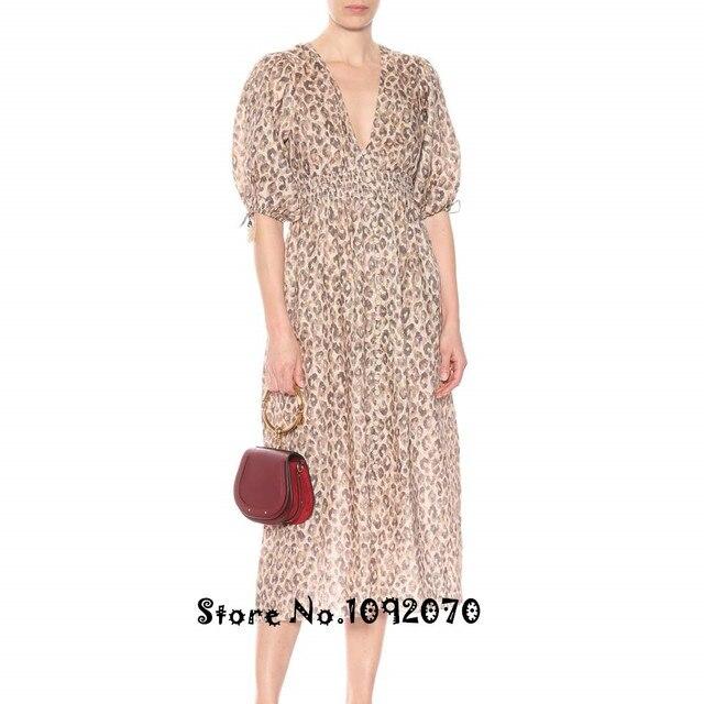 58ec5d819357 Women Elbow-length Blouson Sleeves Drawstring Cuffs Plunging V-neckline  Empire Waist Leopard Print Melody linen dress