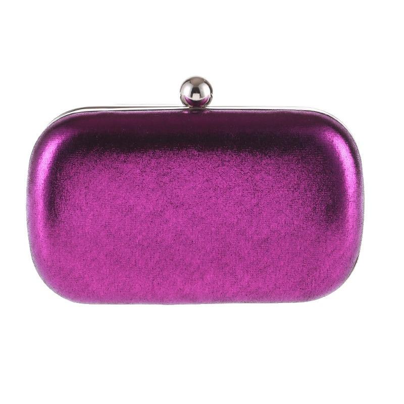 Elegant Purple Women Evening Bag Shoulder Chain Wedding Party Handbag Solid Color Female Small Bag Fashion Lady Purse Bag Clutch