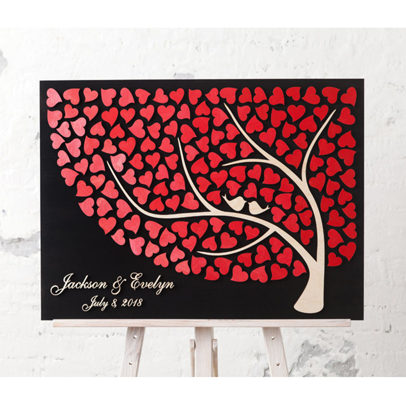 Alternative 3D Guestbooks Ideas Personalized Wedding Guest Books Sign,Custom Couple Names & Date Guestbooks Tree Hearts image