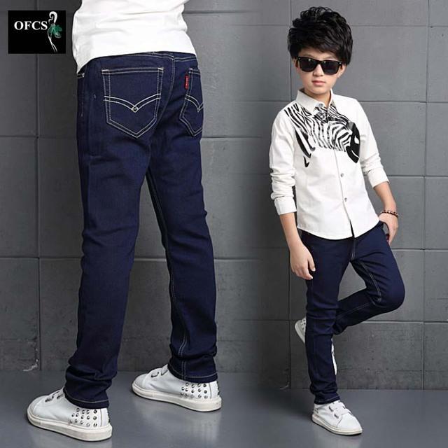2016 Novas roupas Para Crianças De Primavera E Outono Macho Grande calças de Brim das crianças Crianças Cor Pura Calças Jeans do Garoto Sim 5-16Year