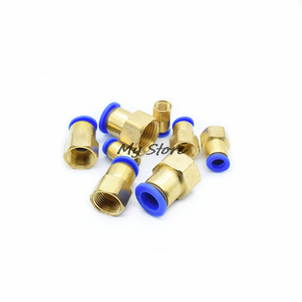 OD 4MM 6MM 8MM 10MM 12MM Pneumatic Connector (1/8'' 1/4'' 3/8'' 1/2'') Female thread Push In Fitting for Air Pipe joint 10pcs t type pneumatic connector tee union push in fitting for air pipe joint 4mm 12mm