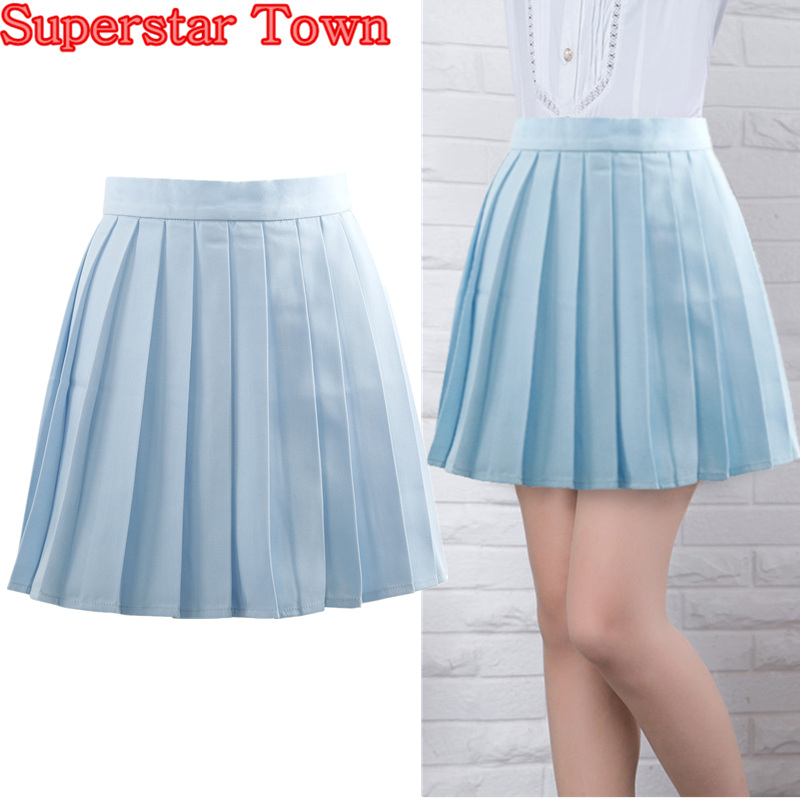 popular light blue pleated skirt buy cheap light blue