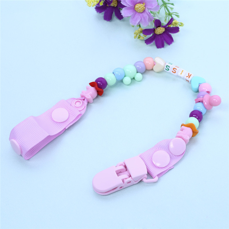 New Baby Pacifier Clip Pacifier Chain Hand Made Funny Colourful Beads Dummy Clip Baby Soother Holder Baby Nipple Feeding