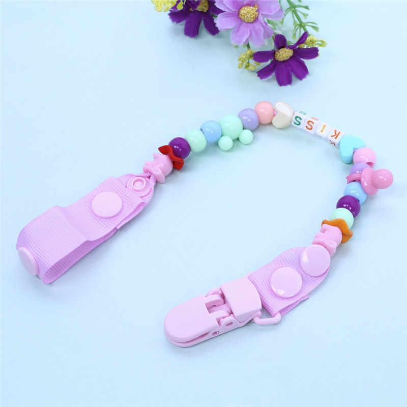 Nuevo chupete de bebé Clip chupete cadena hecho a mano cuentas coloridas Dummy Clip bebé chupete soporte para pezón para bebés niños