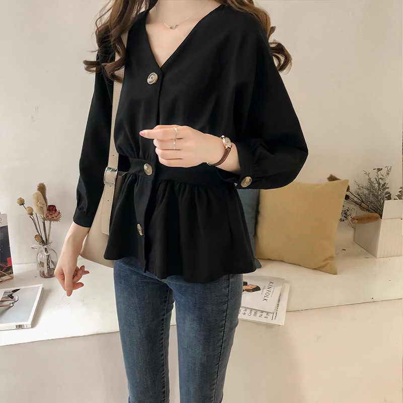 Manubeau Plus rozmiar 4XL biuro bluzka topy zieleń wojskowa z długim rękawem, dekolt w serek tunika koszule jesień panie odzież robocza damska odzież