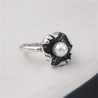 JINSE Natural Shell Pearl Ring Unique Lotus Leaf Design 925 Sterling Silver Women S Wedding Party