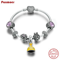 Europe S925 sterling silver charm bracelet fashion high end sterling silver jewelry beauty and beast DIY bangl Pulseira Feminina