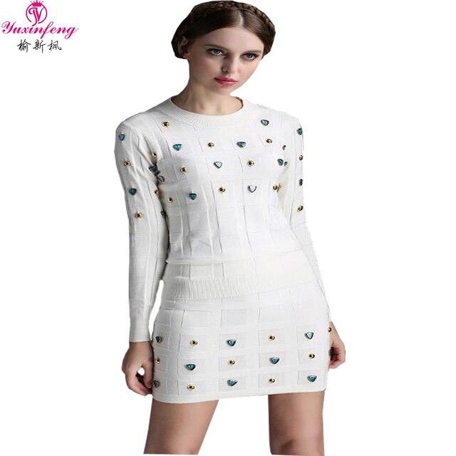New 2017 Fashion Autumn Winter Women Knitted Set Skirt  bead long sleeve 2pcs skirt sets Bodycon women skirt suits knitting