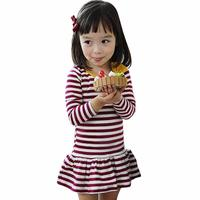 Auntumn Kids Girls Long Sleeve Stripe Bow Tutu Party Dress Baby Outfit