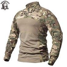 SINAIRSOFT Мужская Тактическая Военная боевая рубашка из дышащего хлопка, армейская камуфляжная футболка с длинным рукавом для спорта на открытом воздухе LY0107