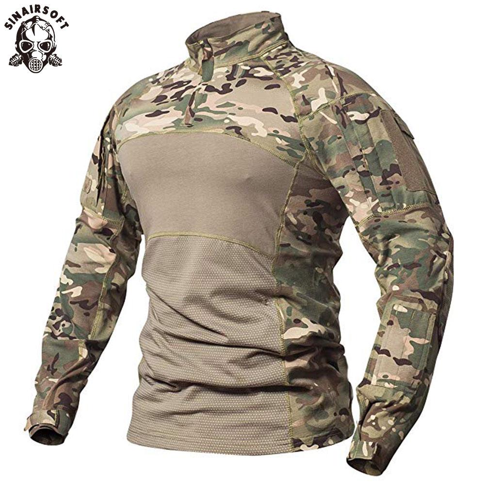 SINAIRSOFT Мужская Тактическая Военная боевая рубашка дышащая хлопковая армейская камуфляжная футболка с длинным рукавом для спорта на открыто...