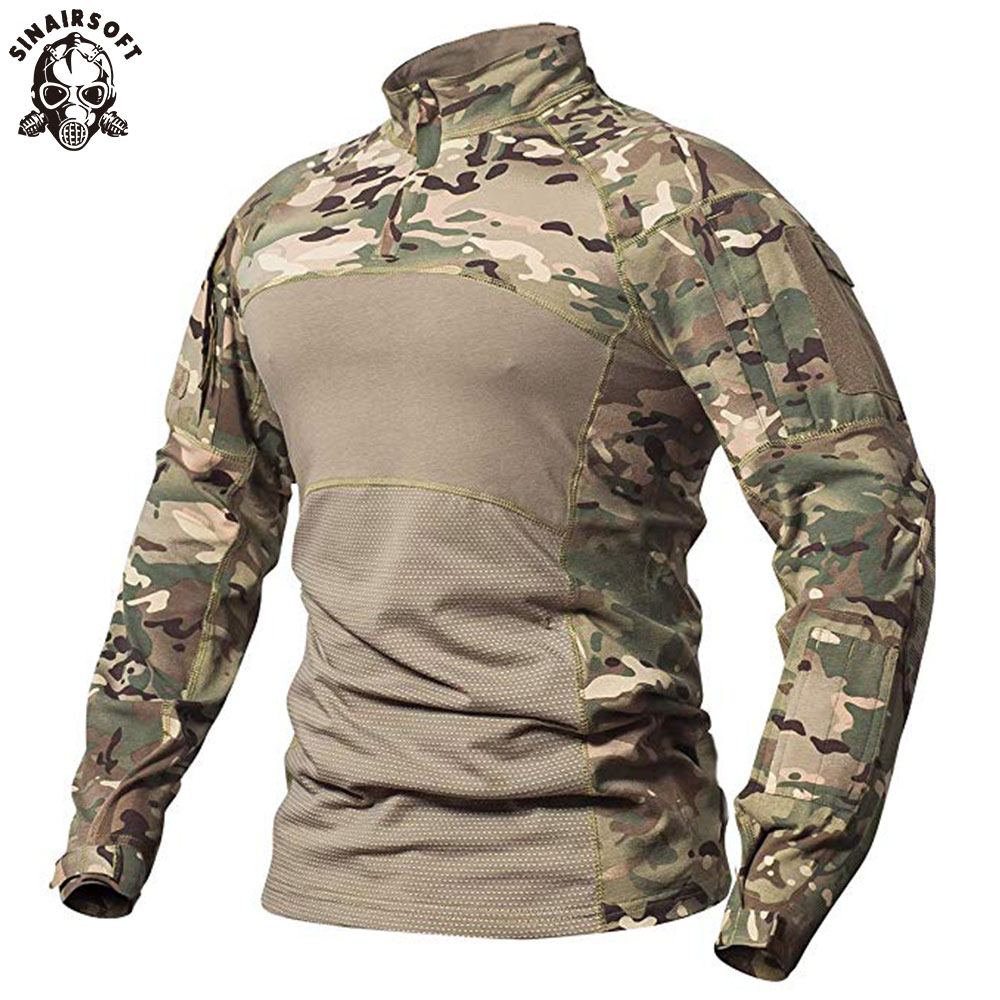 SINAIRSOFT Men's Tactical Military Combat Shirt Breathable Cotton Army Assault Camo Long Sleeve T Shirt Outdoor Sports LY0107