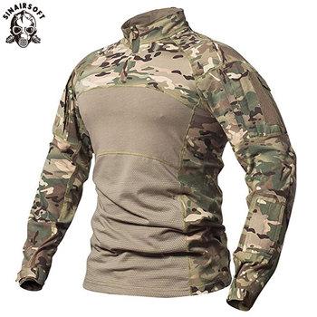 SINAIRSOFT męska taktyczna wojskowa koszula bojowa oddychająca bawełna Army Assault Camo koszulka z długim rękawem Outdoor Sports LY0107 tanie i dobre opinie Pasuje prawda na wymiar weź swój normalny rozmiar 95 Cotton + 5 Spandex airsoft paintball shooting army training fishing hiking