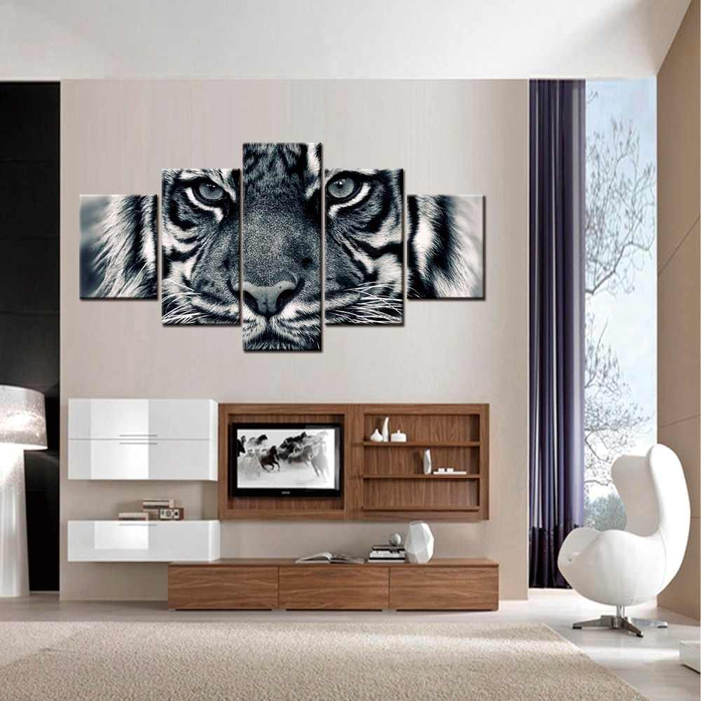 5 Panels Modern Distinctive Black White Animal Tiger Lion Face HD Photography Art Canvas Print Painting Poster Wall Pictures