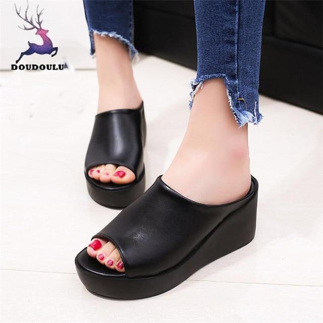ac972d9cc0b 2018  Women Summer Fashion Leisure Fish Mouth Sandals Thick Bottom Slippers  Leisure Platform Wedges Shoes Woman Slipper
