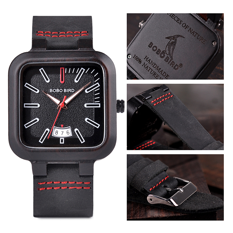 BOBO BIRD Square Design Stylish Wooden Watch For Men With Box 13