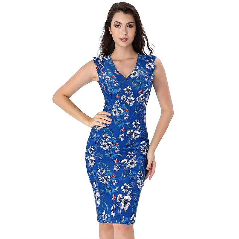 Vfemage Womens Elegant Ruffle Sleeve Solid Floral Print Slim Casual Work Office Business Cocktail Party Bodycon Sheath Dress 028