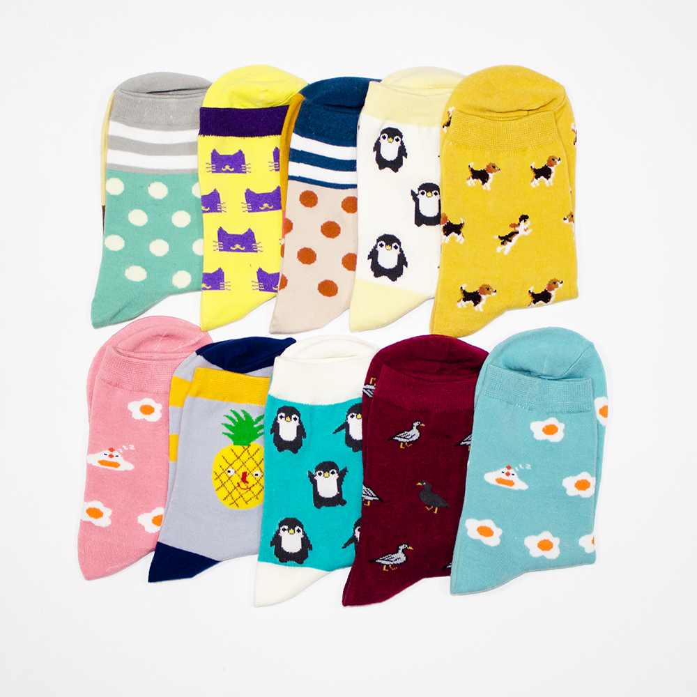 New Cotton Socks Women Cartoon harajuku Animal Dots Girls Colorful Funny Socks Cute kawaii vintage Autumn Sock
