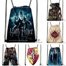 Custom Harry Potter Drawstring Backpack Bag Cute Daypack Kids Satchel (Black Back) 31x40cm#180531-02-13