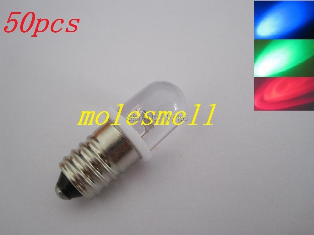 Free Shipping 50pcs Rgb E10 3V Rgb Led Water Clear Led Bulb Light Lamp For LIONEL 1447