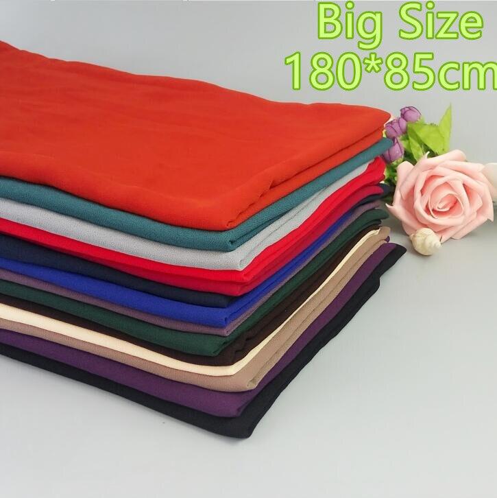 H29 180*85cm Big size Top quality plain bubble chiffon wrap shawl women scarf ...
