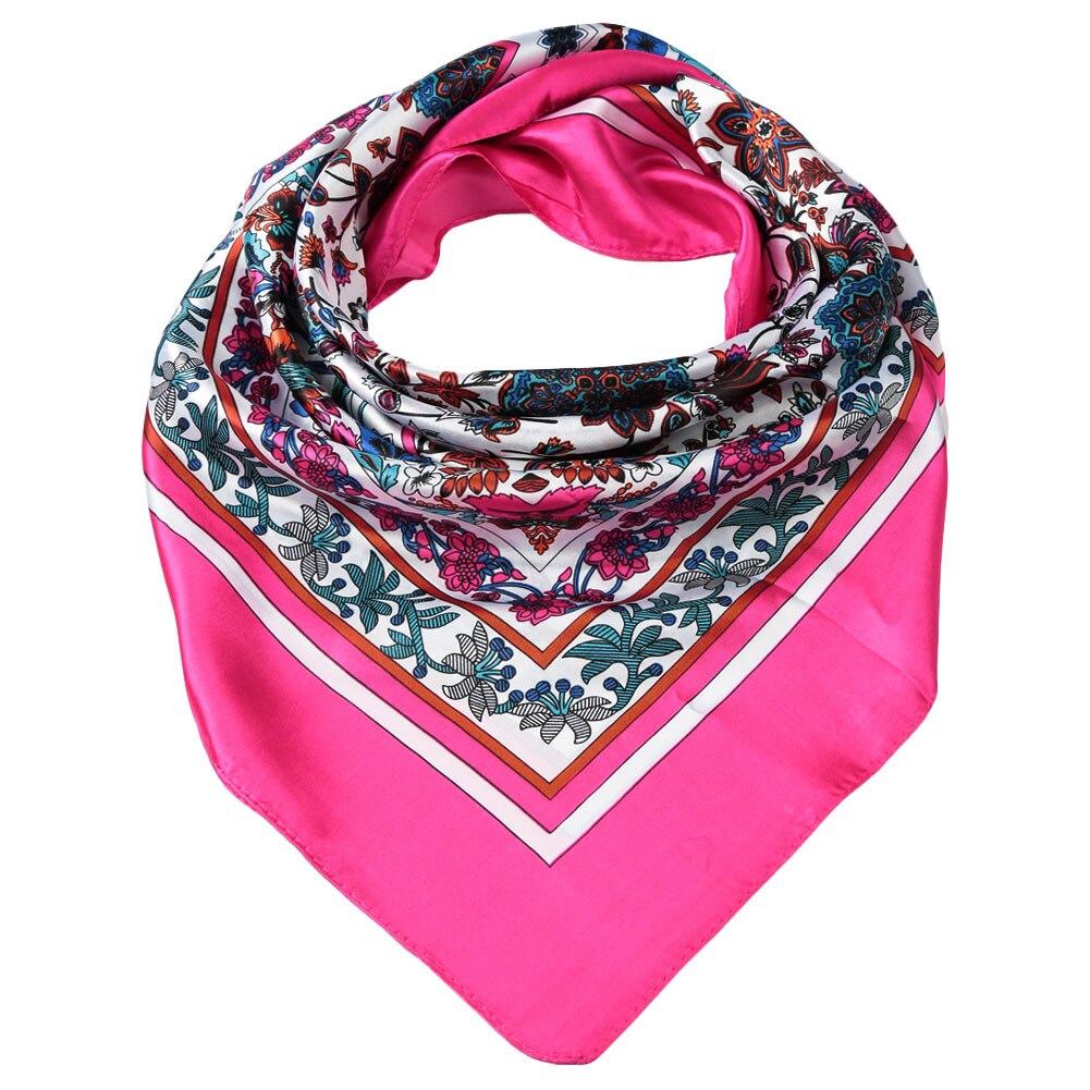 Imitado Satén De Seda de Las Mujeres Bufanda Cuadrada De Moda Foulard Estampado floral Fulares Mujer
