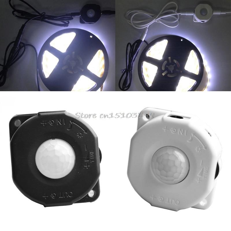 New DC 12V 24V 6A Automatic Infrared PIR Motion Sensor Switch For LED light Lamp Black/White #G205M# Best Quality automatic infrared motion sensor switch black dc 12v
