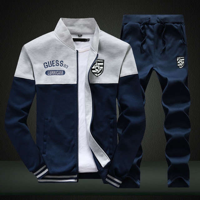 Riinr Brand New Men Sets Fashion Autumn Spring Sporting Suit Sweatshirt +Sweatpants Mens Clothing 2 Pieces Sets Slim Tracksuit 4