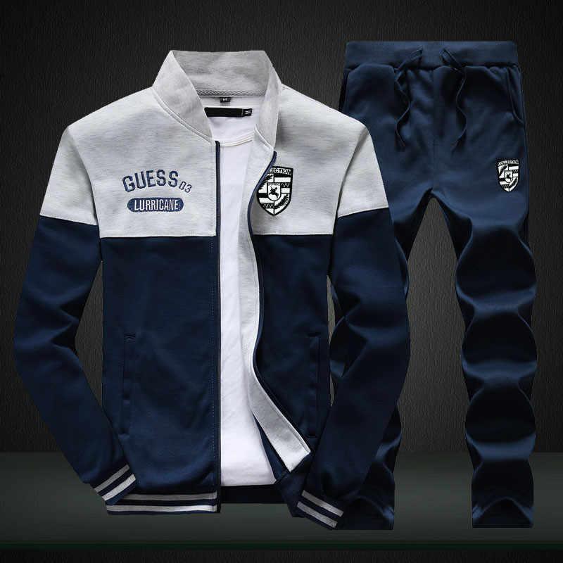 Бренд Riinr, новые мужские комплекты, Модный осенне-весенний спортивный костюм, толстовка + спортивные штаны, Мужская одежда, комплекты из 2 предметов, облегающая спортивная одежда
