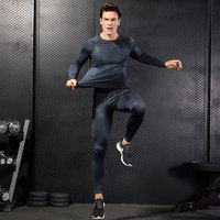 2017 YD Fitness Tight Sport Suit Men Long Sleeve Shirt And Pant Men S Running Set