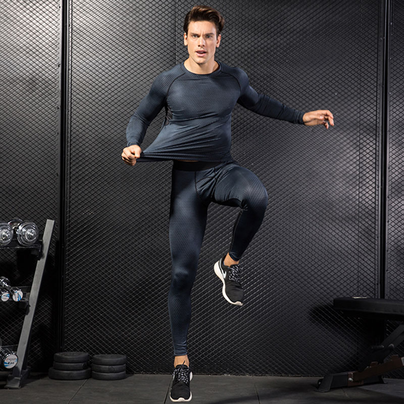 Image 2 - 2017 Fitness Tight Sport Suit Men Long Sleeve Shirt +Pant Mens Running Set Compression Gym Clothing Quick Dry Mens Sportswear-in Running Sets from Sports & Entertainment on AliExpress