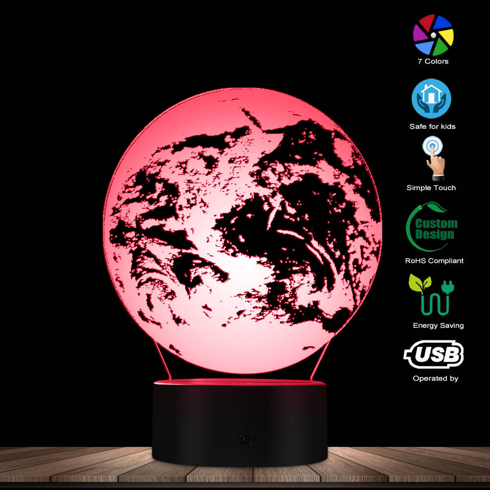 3D Effect Earth 3D Optical Illusion Night Light Table Lamp Globe World Map Mood Light Bedside Desk Lamp Decorative Lighting